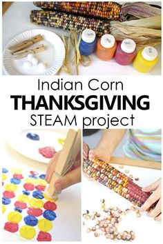 In this Indian Corn Math and Art Thanksgiving Project kids sort, create patterns, and create a beautiful Indian Corn Thanksgiving craft for kids. Preschool Teacher Tips, Fall Preschool Activities, Creative Activities For Kids, Preschool Lesson Plans, Steam Activities, Preschool At Home, Toddler Activities, Preschool Kindergarten, Creative Play