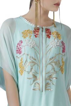 Dress Neck Designs, Embroidered Tunic, Silk Crepe, Line Design, Blue Fabric, Indian Wear, Party Wear, Kurti, Floral Tops