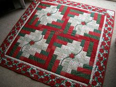 christmas quilts | Christmas Log Cabin Quilt by patz in suffolk | Quilting Ideas