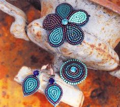 Beaded embroidery PATTERN TUTORIAL earrings, ring and brooch bead