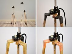 Tripod with copper // lamp stand made from oak by rennadeluxe