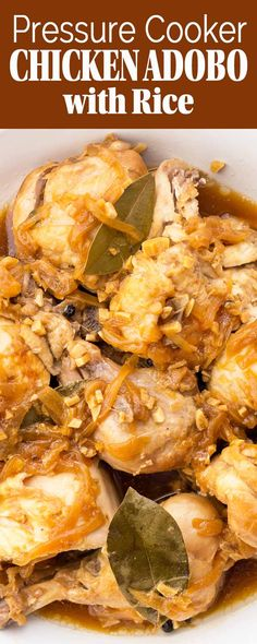 Chicken Adobo with Rice in the Pressure Cooker! All-in-one recipe: the chicken and rice cook together! Use any mix of chicken pieces with onion, garlic, vinegar, soy sauce, and brown sugar. So EASY!