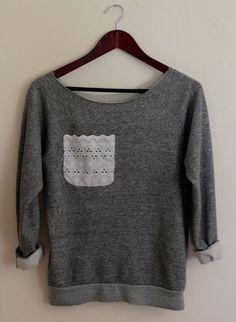 Adding a cute lace pocket to a sweatshirt. Sweatshirt Makeover, Sweatshirt Refashion, Diy Shirt, Diy Clothes Refashion, Diy Clothing, Sewing Clothes, Diy Vetement, Diy Clothes Videos, Altered Couture