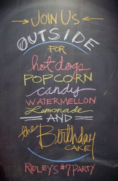 A chalkboard brunch menu and/or bar menu. The rustic chalkboard look with the fun, modern use of fonts is perfect! Chalkboard Pictures, Chalkboard Doodles, Chalkboard Signs, Chalkboard Party, Birthday Photo Booths, Birthday Photos, Chalk Menu, Party On Garth, School Parties