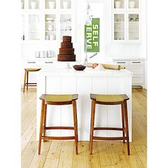 McGuire Furniture: Curved Walnut Counter Stool: No. O-401