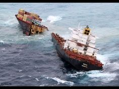 A CARGO ship that caused New Zealand's worst maritime pollution disaster has broken in two during a storm. Ship Breaking, Sea Storm, Rough Seas, Abandoned Ships, Best Fails, Picture Source, Oil Spill, Shipwreck, Boat Plans