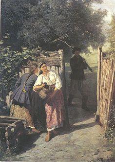 """""""Біля тину"""" 1879, Костянтин Трутовський, Україна"""