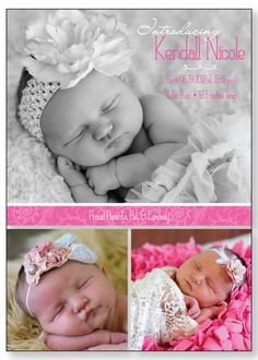Baby Girl Birth Announcement KENDALL by SixEighteenDesign on Etsy