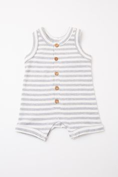 9398bd775ba1 Grey Striped Sleeveless Button Front Baby Romper
