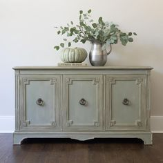 Spruced up sideboard painted with custom Annie Sloan chalk paint by Green Spruce Designs. Chateau Grey