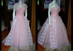 1950s Pink Chiffon Tulle White Flocked Prom by TheVaultVintage, $388.00