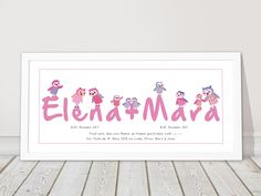 Weiteres - Persönliches Geschenk für Zwillinge Mädchen - ein Designerstück von mikomiko bei DaWanda