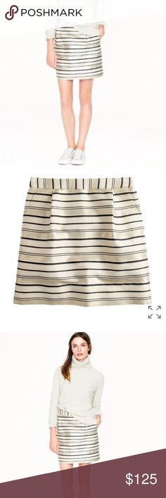 """J. Crew Mini Skirt J. Crew Striped Skirt.  New with tag. Sits at waist. 17"""" long. Falls above knee. Metallic threads make everything more festive.  Pair with some heels for a sexy look.    Cotton/silk. Back zip. Slant pockets. Lined. Dry clean. J. Crew Skirts Mini"""