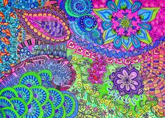 zentangle colorful flower art