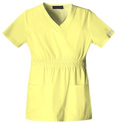 """Baby Phat V-Neck Top in Limelight V-neck top features multi colored zig-zag smocking around the waist that wraps around the back, patch pockets, and side vents. Center back length: 26"""".  Fabric: Brushed Cotton/Poly Poplin $26.99 #scrubs #nurses #doctors #medicaloutlet #babyphat Baby Phat Scrubs, Zig Zag, Nurses, V Neck Tops, Doctors, Poplin, Smocking, Wraps, Short Sleeve Dresses"""