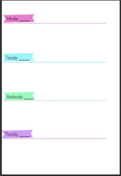 Pastel Colored Week on Two Pages Filofax Inserts - Free Download - Wendaful
