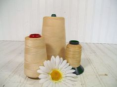 Vintage Large White Spools of Cotton Thread Collection - Retro Sewing Necessities Set of 3 Sizes - Trio Ready for Display Use or Repurposing...