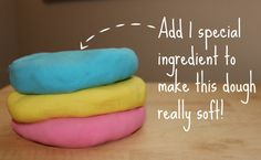"Make super soft play dough with flour, baby powder (or cornflour), cream of tartar, baby oil, water, food colouring - from Teaching Mama ("",)"
