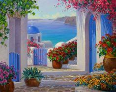 (usa) Santorini of Greece by Mikki Senkarik ). Greece Painting, Pintura Exterior, Art Lessons Elementary, Landscape Art, Painting Inspiration, Watercolor Art, Modern Art, Canvas Art, Artsy