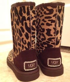 Leopard print UGG boots with bling<3<3