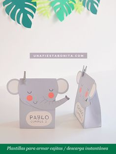 Box for surprises animals jungle elephant template to Safari Birthday Party, Birthday Favors, Party Decoration, Baby Shower Decorations, Pretty Baby Girl Names, Imprimibles Baby Shower, Elephant Template, Safari Invitations, Wishes For Baby Cards