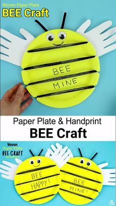 This Paper Plate and Handprint Bee Craft is so cute! It's a great insect craft to build fine motor skills too. A fun Spring and Summer handprint craft and paper plate craft for kids. Paper Plate Crafts For Kids, Easy Paper Crafts, Kids Crafts, Insect Crafts, Bee Crafts, Mason Jar Crafts, Mason Jar Diy, Valentines For Kids, Valentine Crafts