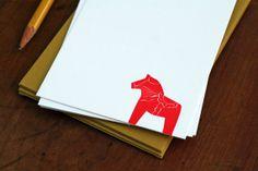 Swedish Dala Horse Notecard / 6Pack / Letterpress by TabletopMade, $12.00