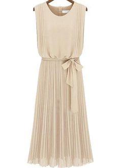 Good Quality Round Neck Sleeveless Chiffon Dress - Apricot  - luulla.com