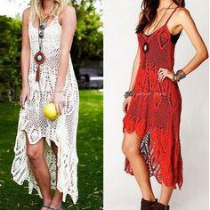 2014 new Women Embroidery Floral Crochet Dress Irregular Vintage Spaghetti Strap Backless BOHO Beach Maxi Dress $45.00