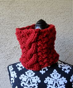 Cowl Womens Chunky Red Neckwarmer in Soft Wool Circle Scarf Cowl Winter Womens Accessories