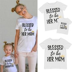 Family Outfits Clothes Mother Daughter T-shirt Womens Kids Girls Cotton Tee Tops #Unbranded #DressyEverydayHoliday
