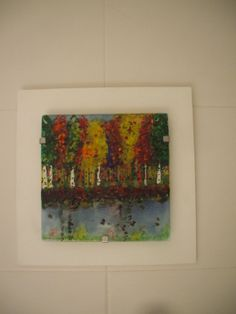 Cuadro de vidrio de 22x22 cm realizado en vitrofusion (Glass picture of 22x22 cm made by fusing)