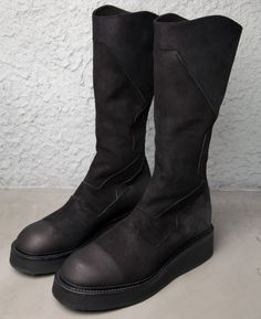 JULIUS_7 TALL PLATFORM GOAT LEATHER BOOTS