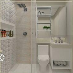 Bom dia! Projeto para banheiro pequeno da @carolgoulart.interiores para nos inspirarmos. Decoração clean com toque sofisticado, excelente…