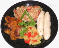 St Kitts & Nevis- Stewed Salt Fish with Dumplings,Spicy Plantains & Breadfruit