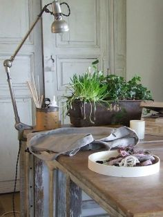 My French Country Home, French Living - Sharon Santoni clamp light for working in kitchen and not so spare room My French Country Home, Vintage Country, Vintage Decor, Clamp Lamp, Studio Table, French Decor, Garden Styles, Home Accents, Decoration