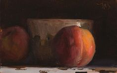 Daily painting of Peaches and faisselle pot