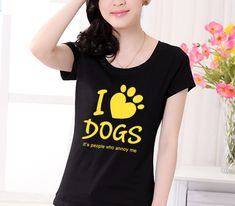 Item Type: Tops Tops Type: Tees Gender: Women Style: Fashion Pattern Type: Solid Collar: O-Neck Brand Name: I Luhv Dogs Material: Cotton,Polyester Fabric Type: Knitted Sleeve Length(cm): Short Clothing Length: Regular Sleeve Style: Regular Animal Print T Shirts, Mode Kawaii, Cotton Polyester Fabric, Tee T Shirt, Cheap T Shirts, T Shirts For Women, Clothes For Women, Cool Suits, I Love Dogs