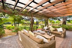 Pergola with translucent corrugated roofing. Could be a good alternative to a gazebo style for back patio Outdoor Rooms, Outdoor Decor, Outdoor Space, Pergola With Roof, Outdoor Design, Exterior, Outdoor Spaces, Pergola Plans, Pergola Attached To House