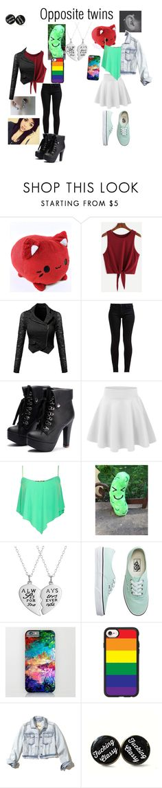 """Opposite twins Adeline and Alex"" by gay-weeb-nerd ❤ liked on Polyvore featuring 7 For All Mankind, Pilot, Vans, Casetify and Hollister Co."