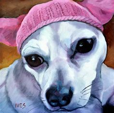 "Daily Paintworks - ""Ay, Chihuahua! Pink Pussy Hat Dog"" - Original Fine Art for Sale - © Rk Ives"