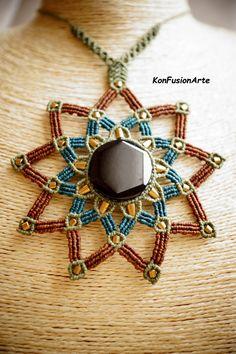 Mandala Collar Macrame Jade Negro por KonFusionArte en Etsy