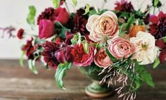 what do you think about adding in a little deep marsala color? Floral Centerpieces, Wedding Centerpieces, Wedding Bouquets, Floral Arrangements, Centrepieces, Fresh Flowers, Pink Flowers, Beautiful Flowers, Burgundy Flowers