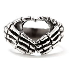 """Hand Heart"" Ring by Blue Bayer Design (Sterling Silver) #InkedShop #silver #heart #skeletonhands #hands #skeleton #ring #jewelry #accessory"