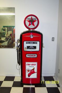 Restored 1960's Texaco Firechief gas pump. Somebody seriously needs to come up with a replica of this gas pump with a refrigerator in it. It would be the ultimate garage fridge.