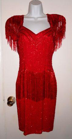 Black Tie Oleg Cassini red silk beaded fringe dress 100% silk sexy size 6 1980s #OlegCassini