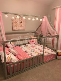 Grey pink and white girls room interior ideas little princess room bed with canopy children bed toddler bed baby toy room house frame bed baby bed Montessori play tent home bed nursery crib ChildrensBeds # Little Girl Bedrooms, Big Girl Rooms, Kid Bedrooms, Little Girl Beds, Bed For Girls Room, Girl Kids Room, Diy Little Girls Room, Cute Girls Bedrooms, Kids Room Bed