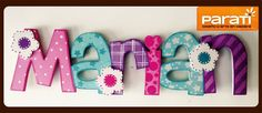 nombre en madera Home Crafts, Fun Crafts, Arts And Crafts, Paper Crafts, Painted Letters, Wood Letters, Hand Painted, Diy Nursery Decor, Nursery Art
