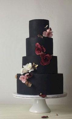 Cake Inspiration - crummb Featured Cake: crummb cakes from ;Featured Cake: crummb cakes from ; Crazy Wedding Cakes, Creative Wedding Cakes, Black Wedding Cakes, Wedding Cake Designs, Wedding Themes, Wedding Decorations, Wedding Black, Purple Wedding, Floral Wedding