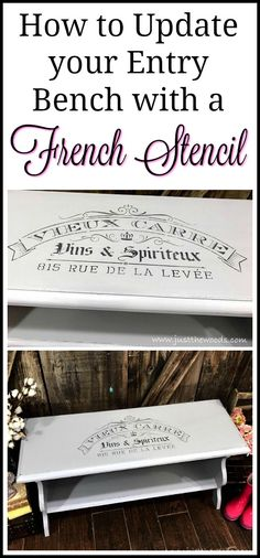 Add a stencil to your painted furniture makeover. An entry bench with a french stencil
